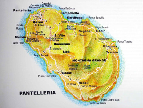 Cartina dell'isola di Pantelleria