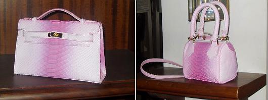 Micro pochette e micro bauletto in pitone rosa e fucsia